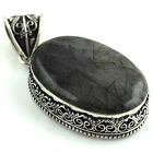 "Black Ruttile Stone Look Superb - Silver Plated Jewelry Pendant Size 2.50"" A-398"