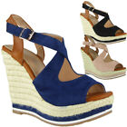 Womens Ladies New Summer Hessian Espadrilles Platform Shoes Wedges Sandals Size