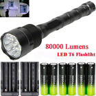80000Lumen T6 Zoom LED Flashlight Torch Light Rechargeable 18650Battery Charger~