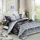 4pc Black Floral Comforter Set: 3pc Duvet Cover Set + White Comforter Queen/King