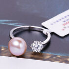 Women Silver Ring Cultured Pearl Gold Vintage White 8-9mm Diamond Cute Jewelry