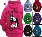 PERSONALISED HORSE RIDING HOODIE all sizes GYPSY COB PIEBALD VANNER HEAVY HORSE