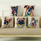 "18"" Watercolor Linen Throw Pillow Case French Bulldog Sofa Cushion Cover New"