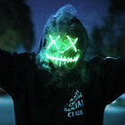 Light Up LED Face Mask - Scary Urban Face Mask - 7 Hour Charge! Rave Party Wear!