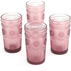 Set of 4 Durable 16-Ounce Emboss Glass Tumblers Glassware Drink Beverage Bar BBQ