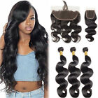 Pre Plucked Lace Frontal Closure with Baby Hair 3 Bundles Virgin Human Hair 300g