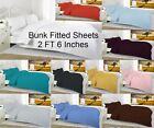 Percale Bunk Bed Fitted Sheet 2 Foot 6 Inch Small (75cm x 190cm) 19 Colours