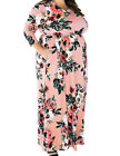 Pink Casual Dress Fitting 3/4 Sleeve Plus Size Dress Siza Comfort Fit Round Neck