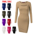 [FINAL SALE]Doublju Women Long Sleeve Slim Fit Unique Key Hole Midi Dress