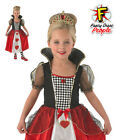 Girls Queen of Hearts Costume Alice Wonderland Kids Fancy Dress Child Outfit