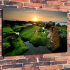 "Sunset Over The Seaside Moss Pools Printed Canvas Picture A1.30""x20""30mm Deep"