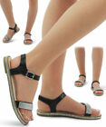 Ladies Women's Low Heel Flat Diamonted  Shinny Party Sandals Smart Ankle Strap
