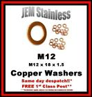 M12 Copper Washers M12 x 18 x 1.5 Pack size 6, 10 or 20