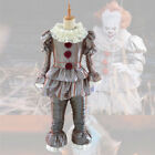 US STOCK Halloween Stephen King's It Pennywise Cosplay Costume Clown