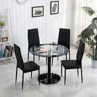 Modern Glass Round Dining Table Set And 4 Faux Leather Chairs Chrome Leg