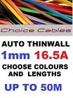 1.0MM AUTO CABLE, 12/24V THINWALL BLACK TRACER STRIPED CAR BOAT WIRE 16.5 AMP