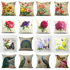 "18"" Retro Flower Pillow Case Sofa Throw Cushion Cover Cotton Linen Home Decor image"