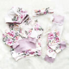 US Stock Newborn Infant Baby Girls Floral Hooded Tops Pants Outfits Clothes 2Pcs