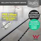 LAUXES Custom Length Silver Slimline Strip Floor Drain Tile Insert Waste p/100mm