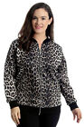 New Plus Size Womens Bomber Jacket Ladies Leopard Animal Print Ribbed Varsity
