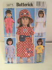"""Butterick 3875 Doll Clothes Sewing Pattern Ameerican Girl 18"""" Dolls"""