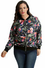 New Womens Plus Size Bomber Jacket Ladies Camouflage Floral Print Rib Cuffed Arm