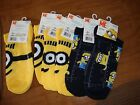 Dispicable Me NO SHOWS  SOCKS  New 6-pairs FITS  Size 9 TO 11