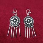 Chinese Handmade miao silver earrings traditional filament drum tassel earring