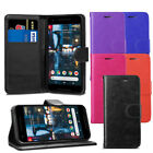 For Google Pixel 2 - Premium Leather Wallet Flip Case Cover + Protector