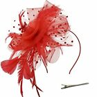 Feather Mesh Fascinators Hat Flower Ribbons Headband Forked Clip Cocktail Tea