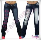 Women's Jeans Tattoo Ladies Trousers Crazy Age Bootcut Jeans 6,8,10,12,14 UK