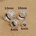 5 Sterling Silver Greek Key Spacer Bead 925 Silver Large Hole Beads for Bracelet