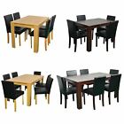 Wooden Dining Table and 4 PU Faux Leather Chairs Set Furniture