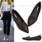 AnnaKastle Womens Solid Faux Leather Point Toe Loafer Chic Flat Shoes Dark Brown
