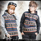street urban trend fair isle embroidery unisex thermal hoodie【J1E526】