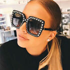 Oversized Large Square Frame Bling Rhinestone Sunglasses Women Fashion Shades NE