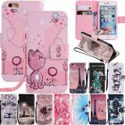 Patterned Wallet Card Holder Flip Leather Case Cover For i Phone 5s 6 7 8 Plus X