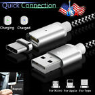 US 1-3M USB-C Micro USB Lightning Magnetic Charger Data Cable For iPhone x 8 Lot