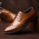 Mens Dress Formal Oxfords Shoes Leather Suit Lace up Brogue Wing Tip Wedding