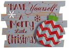 Rustic Wood and Metal Holiday Sign Hanging Christmas Decoration Ornament