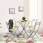 5PCS Round Wood&Metal Dining Set, 1 Table With Foldable 4 Chairs For Space Saved
