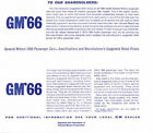 1966 GM Cars New Car Retail Price Booklet