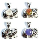ELEPHANT PENDANT Round Stone .925 STERLING SILVER (Choose from 5 Stone Options)