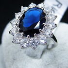 Charm Women Lady Silver Plated Blue Crystal Wedding Engagement Ring Jewelry