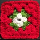 Christmas - Coaster Or Afghan/Granny Square Starter Square Crochet For Blankets