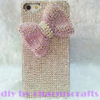 Cute Silver Gems Pink Bow Bling Rhinestones Diamonds Hard Case For Mobile Phone