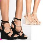 WOMENS High Heel WEDGE SHOES SANDALS STRAPPY ANKLE STRAPS lace up