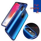 360° Full Protective Plating Tempered Glass Film Soft Case For iPhone X 8 7 Plus