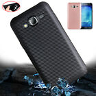 For Samsung Galaxy J7 Neo, Fiber Carbon Matte Soft Rubber Back Case Full Cover