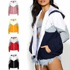 New Ladies Women's Hooded Panelled Long Sleeved Windbreaker Jacket Sports Top